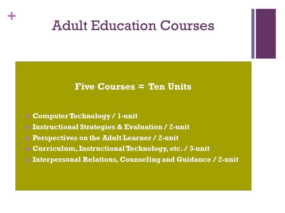 + Adult Education Courses Five Courses = Ten Units Computer Technology / 1-unit Instructional Strategies & Evaluation / 2-unit Perspectives on the Adu