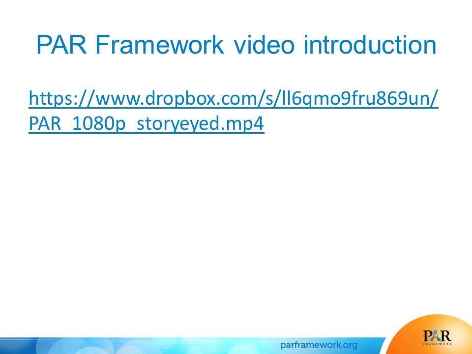 PAR Framework video introduction https://www.dropbox.com/s/ll6qmo9fru869un/ PAR_1080p_storyeyed.mp4