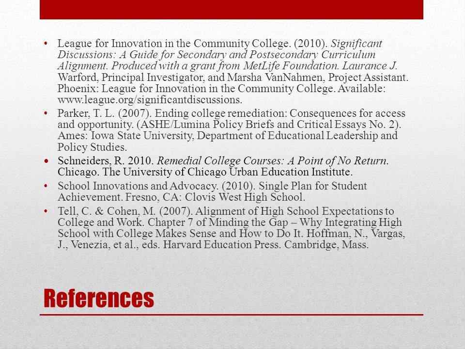 References League for Innovation in the Community College.