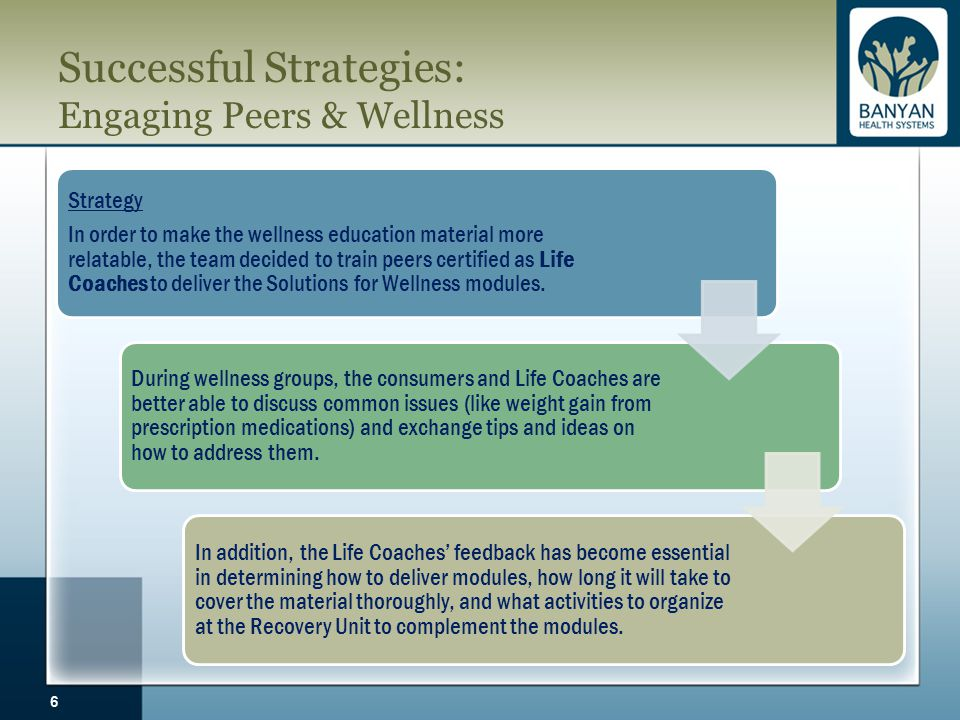 Successful Strategies: Engaging Peers & Wellness 6 Strategy In order to make the wellness education material more relatable, the team decided to train peers certified as Life Coaches to deliver the Solutions for Wellness modules.