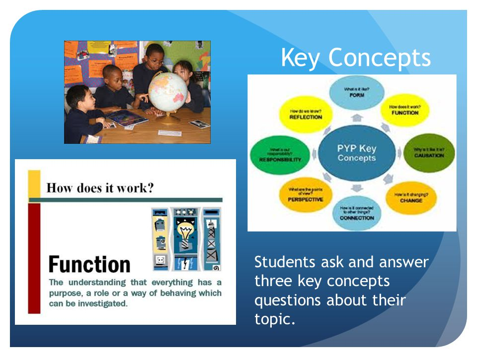 Key Concepts Students ask and answer three key concepts questions about their topic.