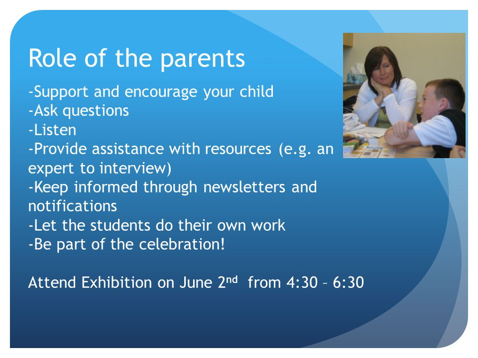 Role of the parents -Support and encourage your child -Ask questions -Listen -Provide assistance with resources (e.g.