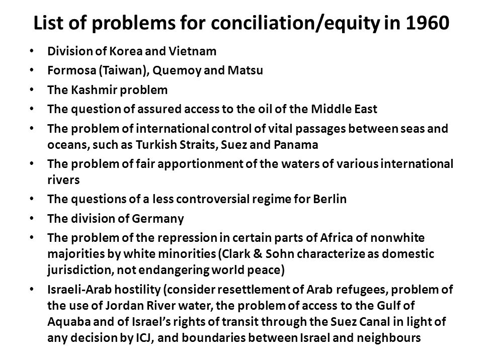 List of problems for conciliation/equity in 1960 Division of Korea and Vietnam Formosa (Taiwan), Quemoy and Matsu The Kashmir problem The question of