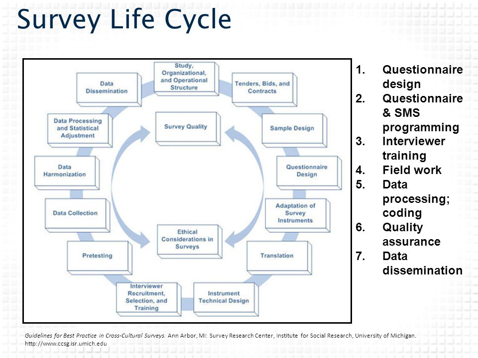 Survey Life Cycle 1.Questionnaire design 2.Questionnaire & SMS programming 3.Interviewer training 4.Field work 5.Data processing; coding 6.Quality ass