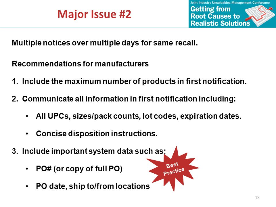 13 Major Issue #2 Multiple notices over multiple days for same recall.