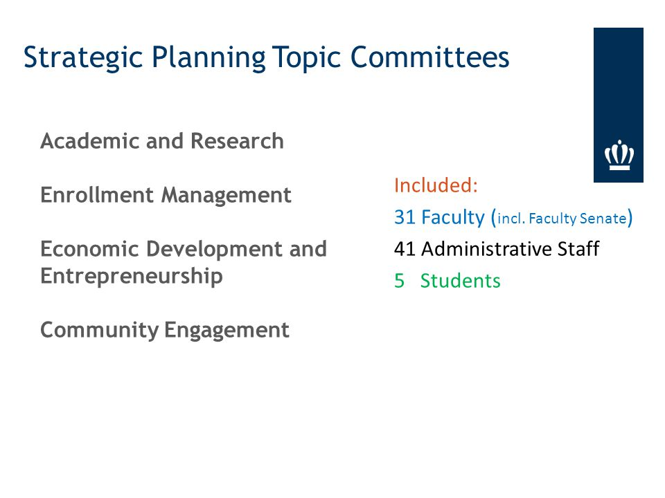 Academic and Research Enrollment Management Economic Development and Entrepreneurship Community Engagement Strategic Planning Topic Committees Included: 31 Faculty ( incl.