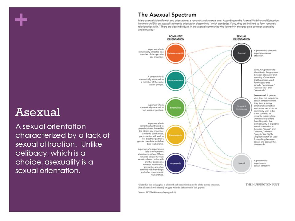 + Asexual A sexual orientation characterized by a lack of sexual attraction. Unlike celibacy, which is a choice, asexuality is a sexual orientation.