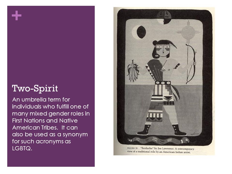 + Two-Spirit An umbrella term for individuals who fulfill one of many mixed gender roles in First Nations and Native American Tribes. It can also be u