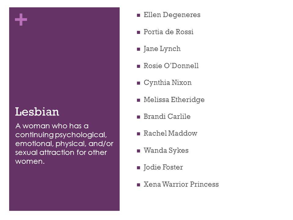 + Lesbian Ellen Degeneres Portia de Rossi Jane Lynch Rosie O'Donnell Cynthia Nixon Melissa Etheridge Brandi Carlile Rachel Maddow Wanda Sykes Jodie Fo
