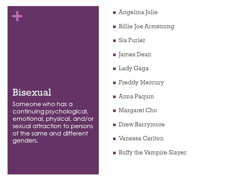 + Bisexual Angelina Jolie Billie Joe Armstrong Sia Furler James Dean Lady Gaga Freddy Mercury Anna Paquin Margaret Cho Drew Barrymore Vanessa Carlton