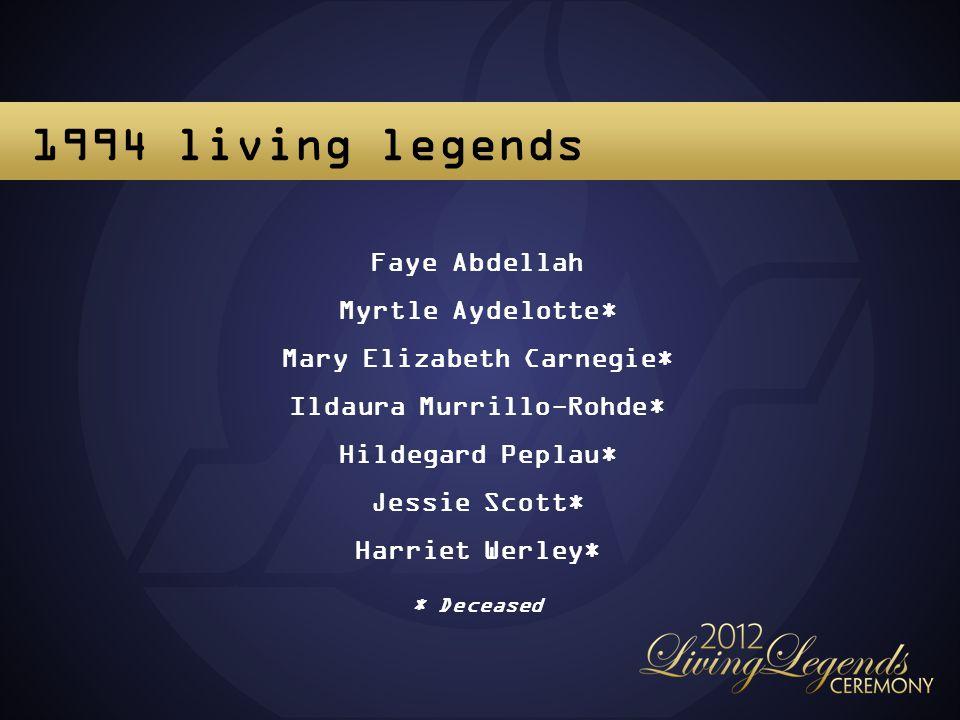 Faye Abdellah Myrtle Aydelotte* Mary Elizabeth Carnegie* Ildaura Murrillo-Rohde* Hildegard Peplau* Jessie Scott* Harriet Werley* * Deceased 1994 living legends