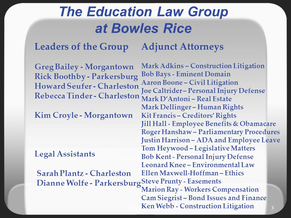 Copyright 20103 The Education Law Group at Bowles Rice Adjunct Attorneys Mark Adkins – Construction Litigation Bob Bays - Eminent Domain Aaron Boone –