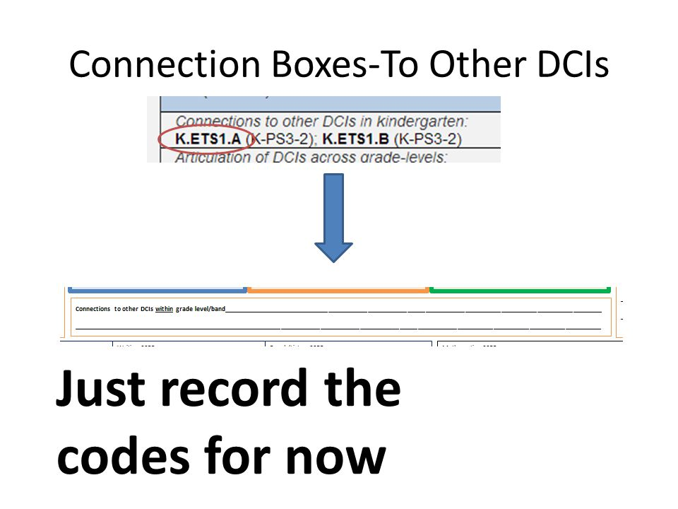 Connection Boxes-To Other DCIs Just record the codes for now