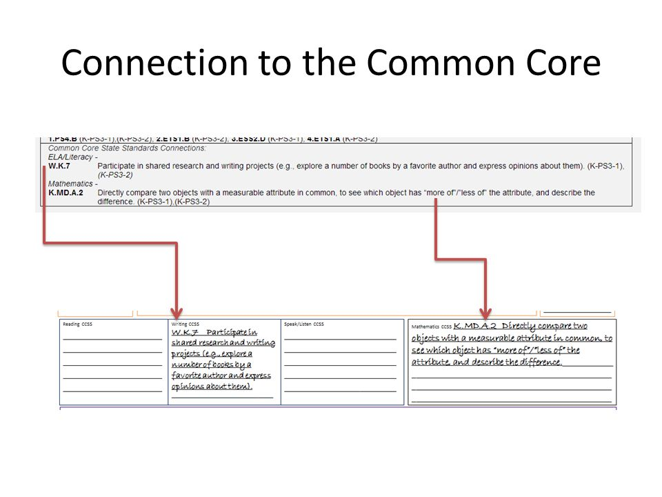 Connection to the Common Core