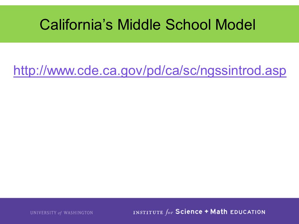 http://www.cde.ca.gov/pd/ca/sc/ngssintrod.asp California's Middle School Model