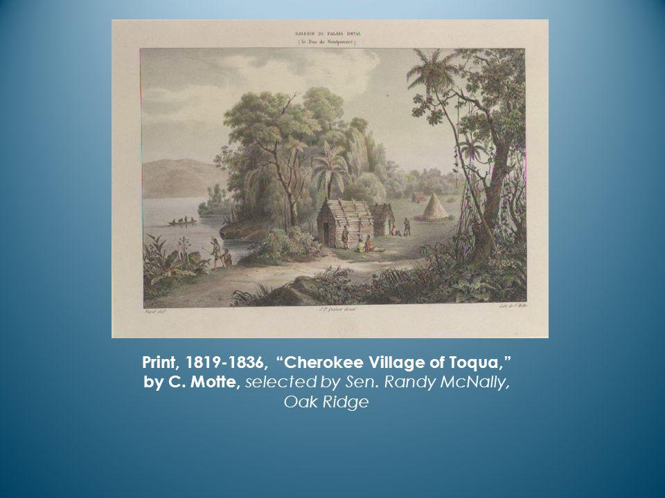 Print, 1819-1836, Cherokee Village of Toqua, by C.