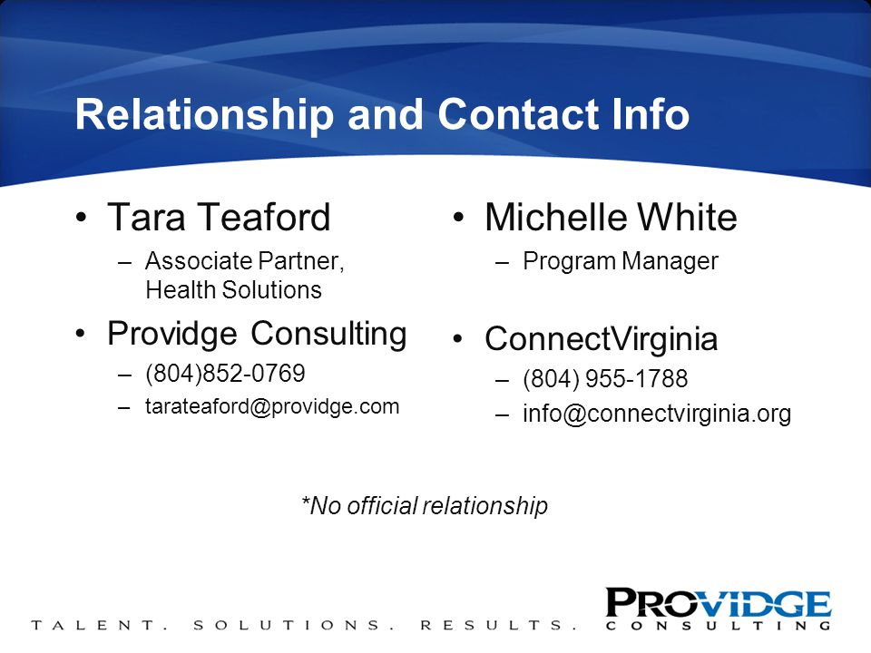 Relationship and Contact Info Tara Teaford –Associate Partner, Health Solutions Providge Consulting –(804)852-0769 –tarateaford@providge.com Michelle White –Program Manager ConnectVirginia –(804) 955-1788 –info@connectvirginia.org *No official relationship