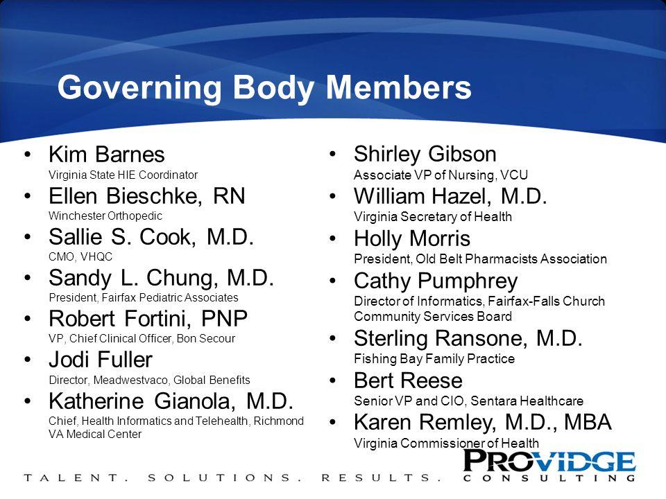 Governing Body Members Kim Barnes Virginia State HIE Coordinator Ellen Bieschke, RN Winchester Orthopedic Sallie S.
