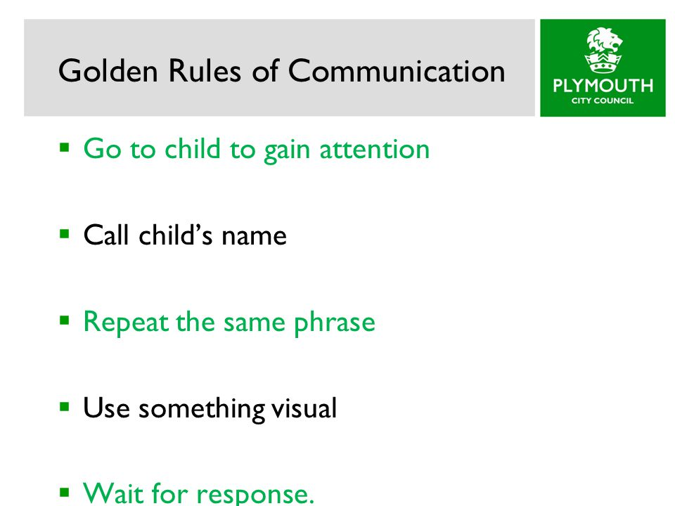 Golden Rules of Communication  Go to child to gain attention  Call child's name  Repeat the same phrase  Use something visual  Wait for response.