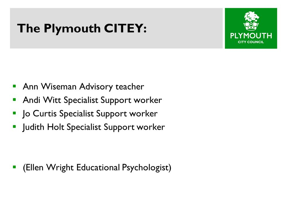 The Plymouth CITEY:  Ann Wiseman Advisory teacher  Andi Witt Specialist Support worker  Jo Curtis Specialist Support worker  Judith Holt Specialist Support worker  (Ellen Wright Educational Psychologist)