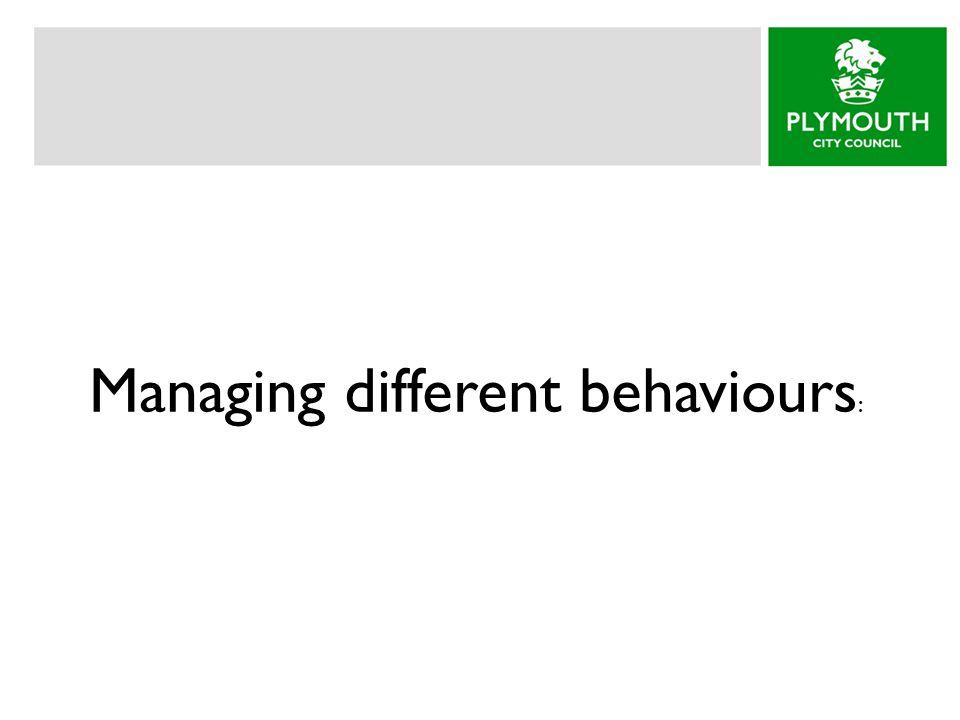 Managing different behaviours :