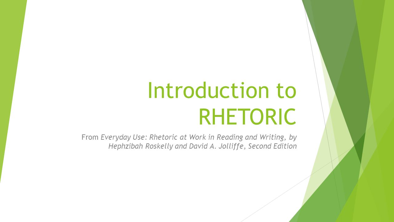 Rhetoric refers to two things:  The art of analyzing all the language choices that writer, speaker, reader, or listener might make in a given situation so that the text becomes meaningful, purposeful, and effective.