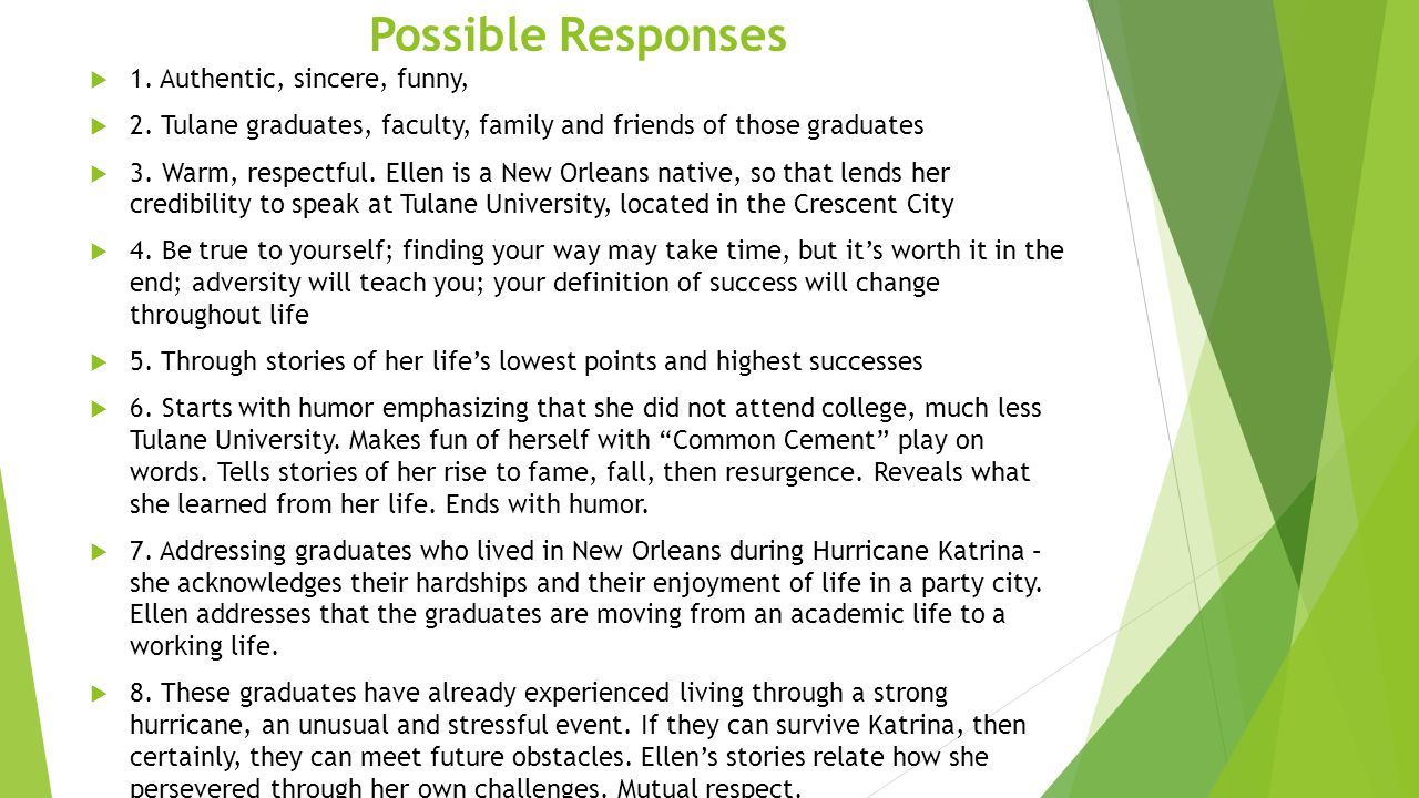 Possible Responses  1. Authentic, sincere, funny,  2. Tulane graduates, faculty, family and friends of those graduates  3. Warm, respectful. Ellen