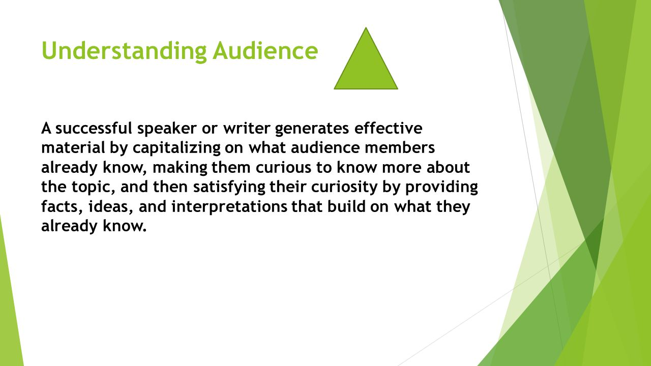 Understanding Audience A successful speaker or writer generates effective material by capitalizing on what audience members already know, making them