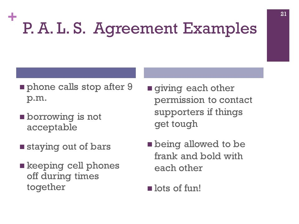 + P.A. L. S. Agreement Examples phone calls stop after 9 p.m.