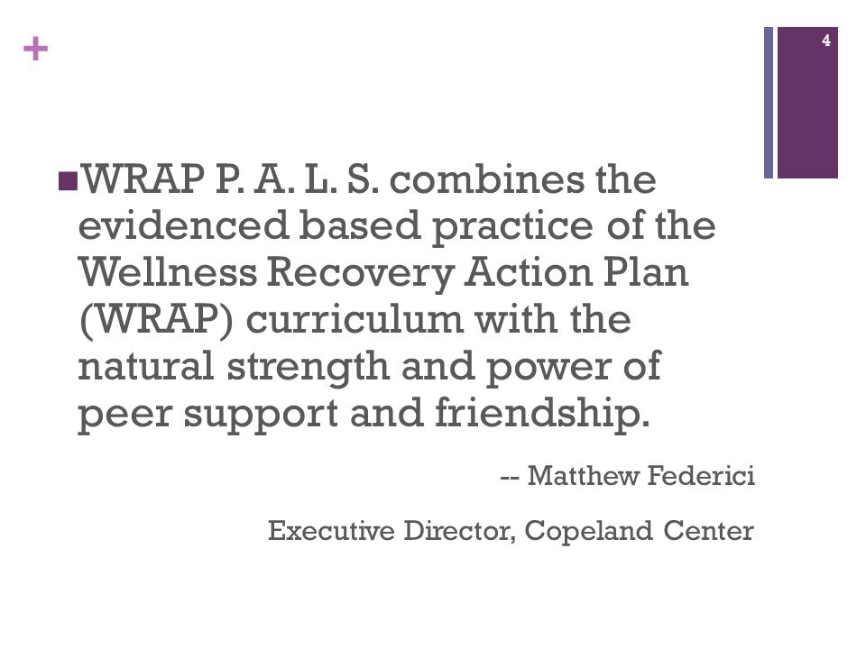 + WRAP P. A. L. S. combines the evidenced based practice of the Wellness Recovery Action Plan (WRAP) curriculum with the natural strength and power of