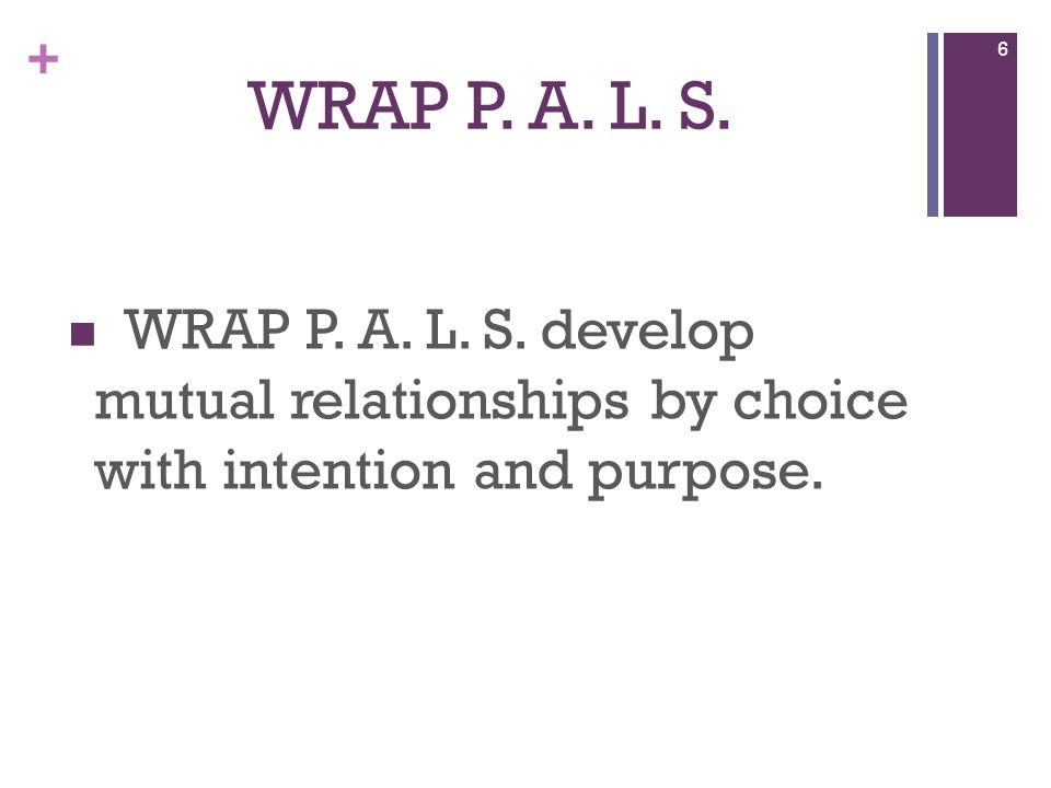 + WRAP P. A. L. S. WRAP P. A. L. S.