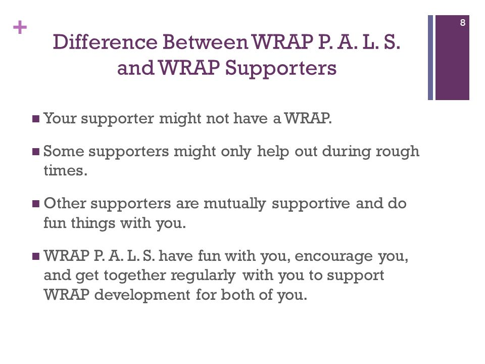 + Difference Between WRAP P.A. L. S. and WRAP Supporters Your supporter might not have a WRAP.