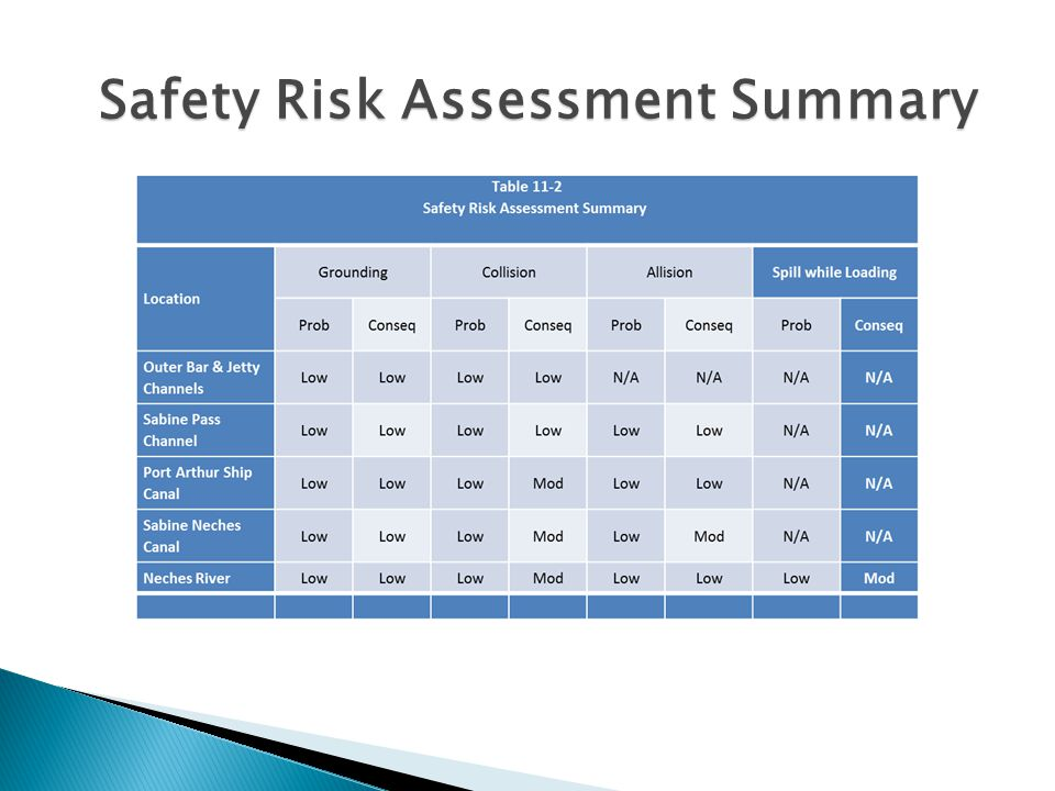 Safety Risk Assessment Summary