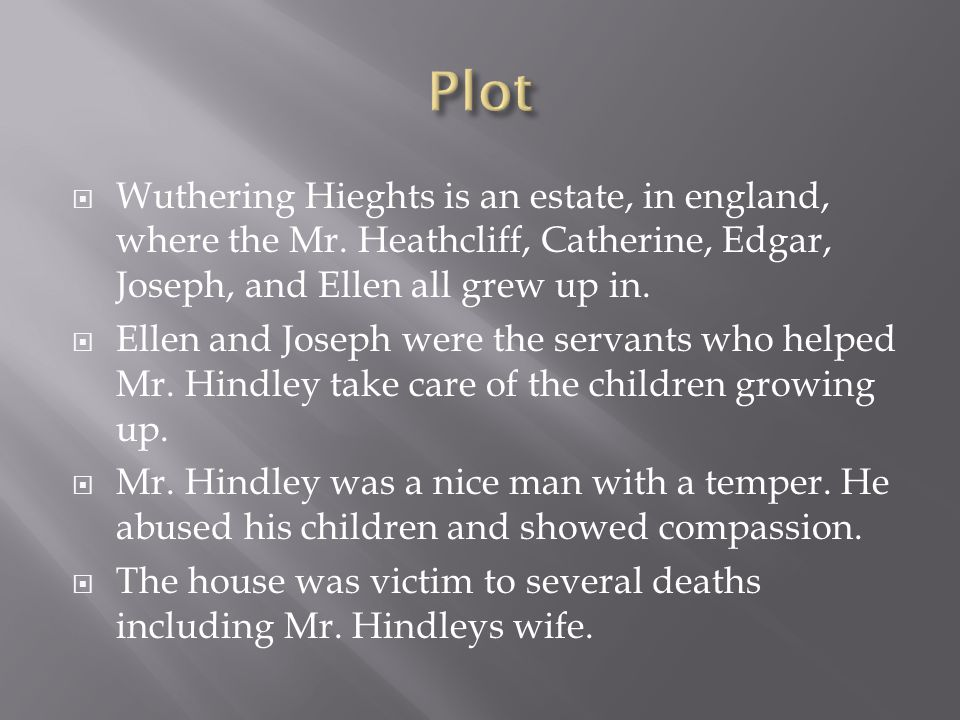  Wuthering Hieghts is an estate, in england, where the Mr. Heathcliff, Catherine, Edgar, Joseph, and Ellen all grew up in.  Ellen and Joseph were th