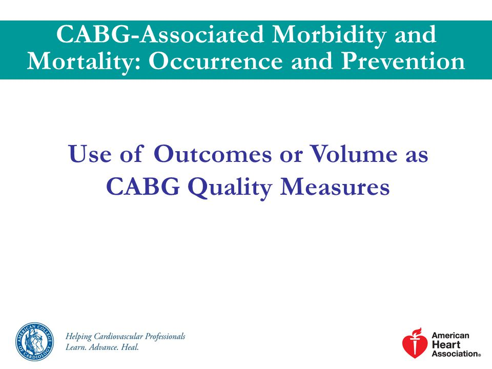 Use of Outcomes or Volume as CABG Quality Measures CABG-Associated Morbidity and Mortality: Occurrence and Prevention