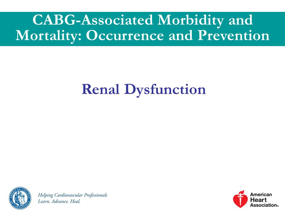 Renal Dysfunction CABG-Associated Morbidity and Mortality: Occurrence and Prevention