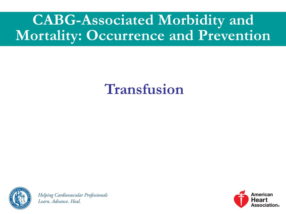 Transfusion CABG-Associated Morbidity and Mortality: Occurrence and Prevention