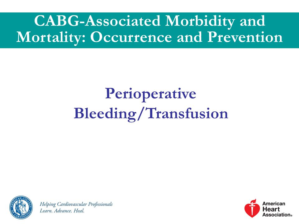 Perioperative Bleeding/Transfusion CABG-Associated Morbidity and Mortality: Occurrence and Prevention