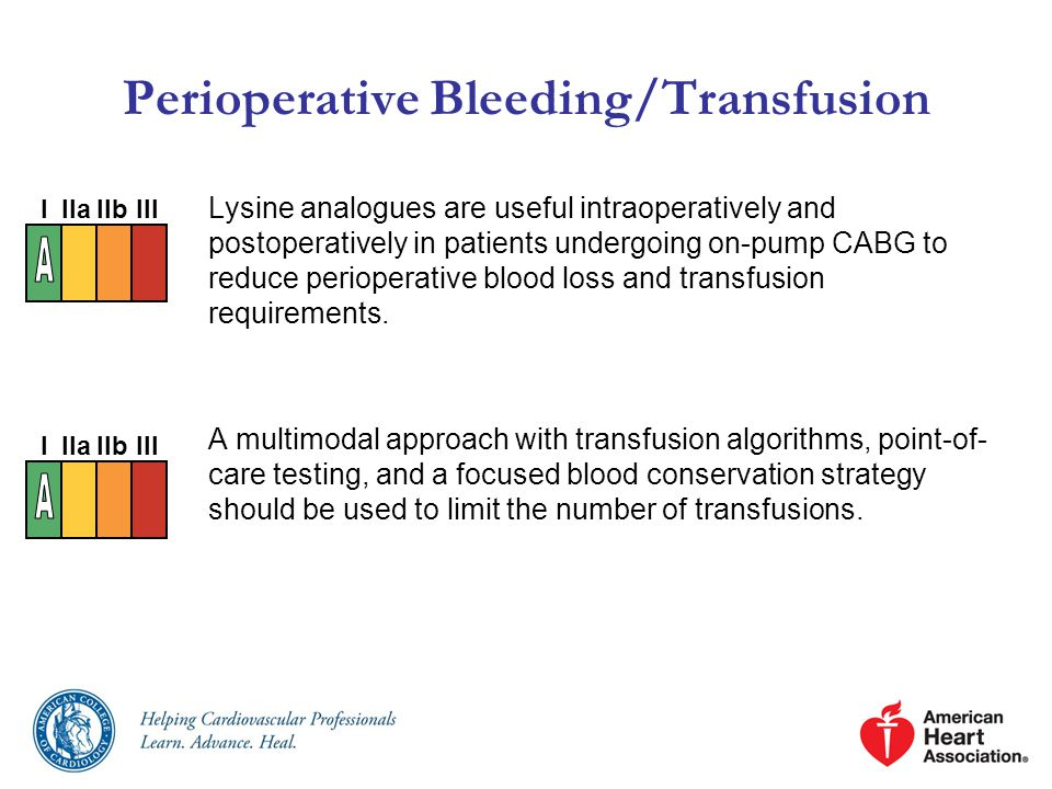 Perioperative Bleeding/Transfusion Lysine analogues are useful intraoperatively and postoperatively in patients undergoing on-pump CABG to reduce perioperative blood loss and transfusion requirements.