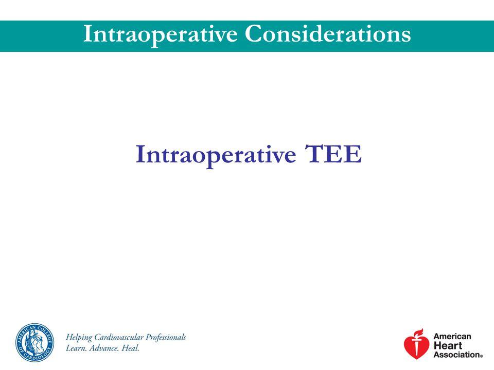 Intraoperative TEE Intraoperative Considerations