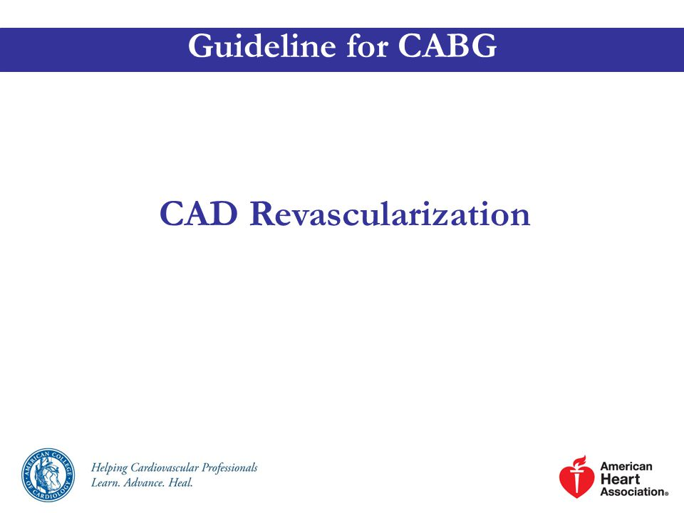 CAD Revascularization Guideline for CABG