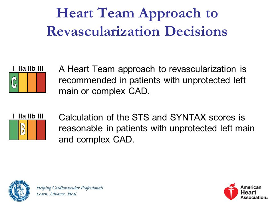 A Heart Team approach to revascularization is recommended in patients with unprotected left main or complex CAD.