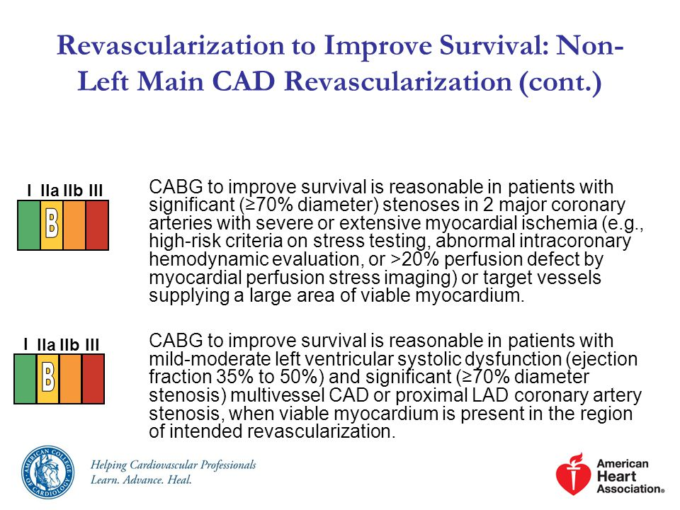 CABG to improve survival is reasonable in patients with significant (≥70% diameter) stenoses in 2 major coronary arteries with severe or extensive myocardial ischemia (e.g., high-risk criteria on stress testing, abnormal intracoronary hemodynamic evaluation, or >20% perfusion defect by myocardial perfusion stress imaging) or target vessels supplying a large area of viable myocardium.