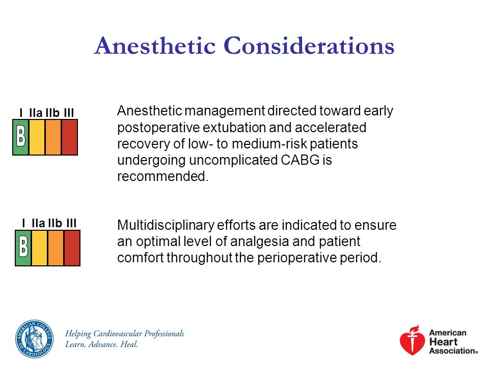 Anesthetic management directed toward early postoperative extubation and accelerated recovery of low- to medium-risk patients undergoing uncomplicated CABG is recommended.