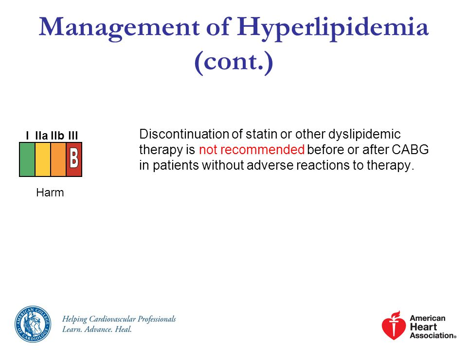 Management of Hyperlipidemia (cont.) Discontinuation of statin or other dyslipidemic therapy is not recommended before or after CABG in patients without adverse reactions to therapy.