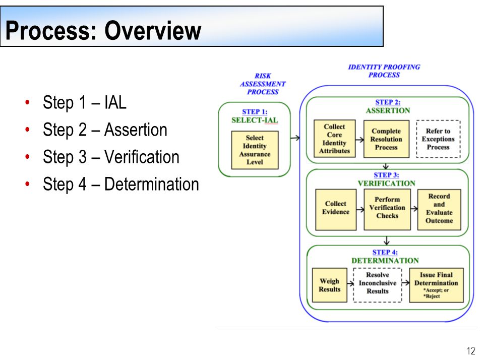 12 Process: Overview Step 1 – IAL Step 2 – Assertion Step 3 – Verification Step 4 – Determination