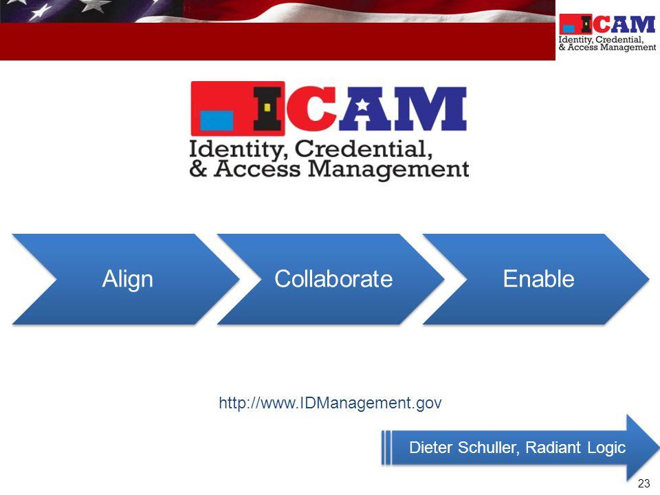 23 http://www.IDManagement.gov Dieter Schuller, Radiant Logic