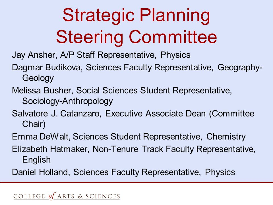 Strategic Planning Steering Committee Jay Ansher, A/P Staff Representative, Physics Dagmar Budikova, Sciences Faculty Representative, Geography- Geology Melissa Busher, Social Sciences Student Representative, Sociology-Anthropology Salvatore J.
