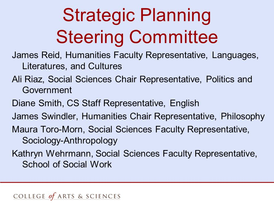 Strategic Planning Steering Committee James Reid, Humanities Faculty Representative, Languages, Literatures, and Cultures Ali Riaz, Social Sciences Chair Representative, Politics and Government Diane Smith, CS Staff Representative, English James Swindler, Humanities Chair Representative, Philosophy Maura Toro-Morn, Social Sciences Faculty Representative, Sociology-Anthropology Kathryn Wehrmann, Social Sciences Faculty Representative, School of Social Work
