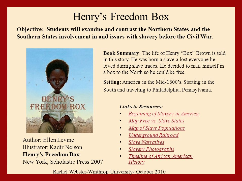 Henry's Freedom Box Links to Resources: Beginning of Slavery in America Map Free vs.